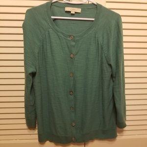 Light teal LOFT 3/4 sleeve cardigan